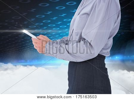Female executive using digital tablet against digitally generated background