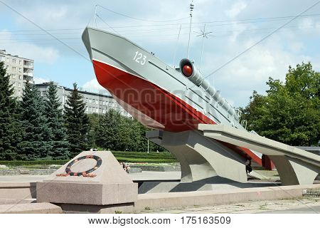 KALININGRAD, RUSSIA - AUGUST 21, 2011: Torpedo boat of the Komsomolets (type 123-bis) as a monument of World War II (1978 sculptor V. Morgunov). Located on Moskovsky Avenue next to the river Pregel.