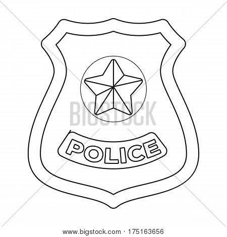 Police badge icon in outline design isolated on white background. Police symbol stock vector illustration.