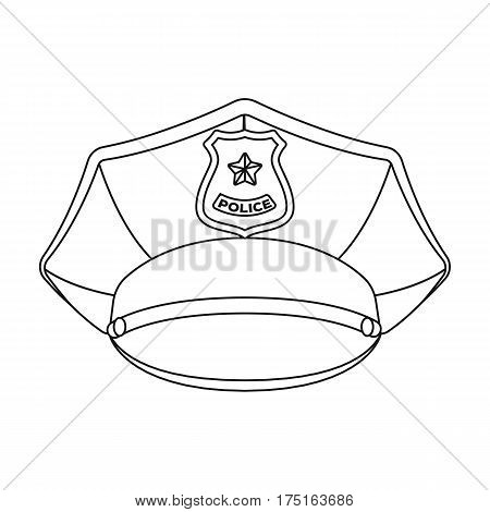 Police cap icon in outline design isolated on white background. Police symbol stock vector illustration.