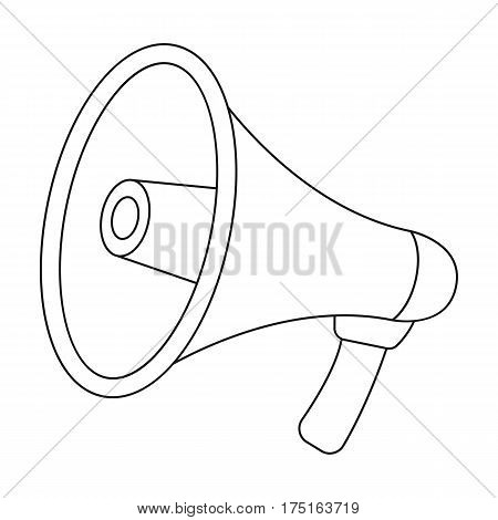 Megaphone icon in outline design isolated on white background. Police symbol stock vector illustration.