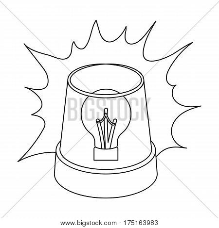 Emergency rotating beacon light icon in outline design isolated on white background. Police symbol stock vector illustration.
