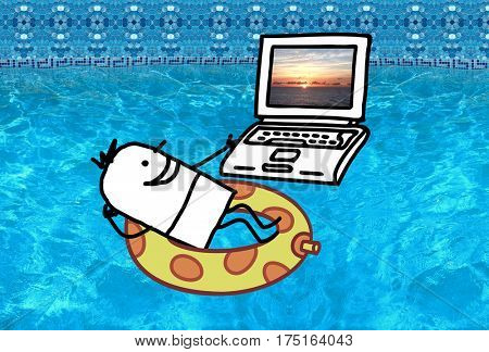 Cartoon character - Man with laptop in a swimming pool