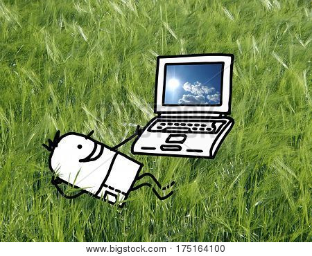 Cartoon character - Man in a field with laptop