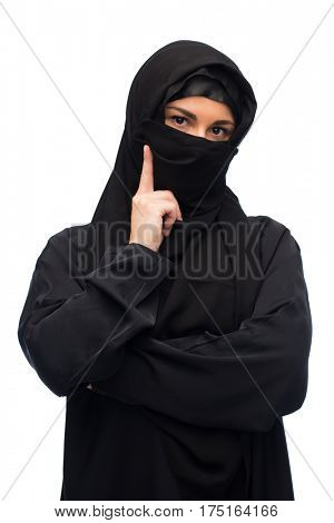 religious, attention, warning and people concept - muslim woman in hijab over white background