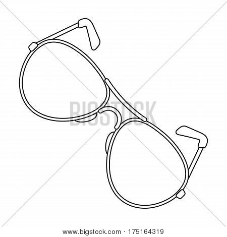 Aviator sunglasses icon in outline design isolated on white background. Police symbol stock vector illustration.