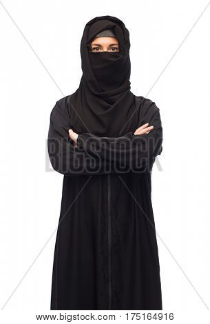 religious and people concept - muslim woman in hijab over white background