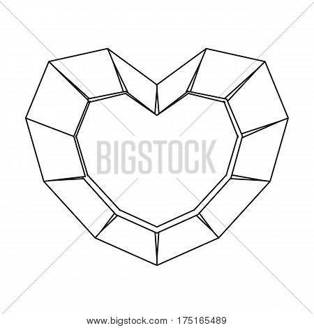 Heart-shaped gemstone icon in outline design isolated on white background. Precious minerals and jeweler symbol stock vector illustration.