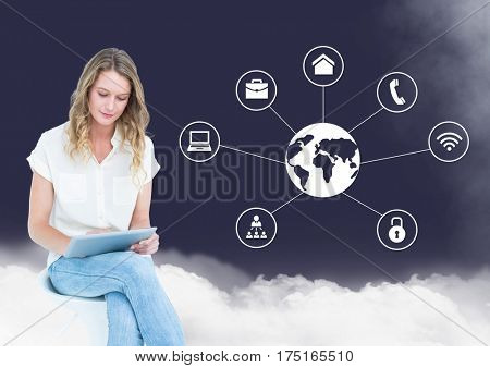 Digital composition of woman using digital tablet with cloud and networking icons in background