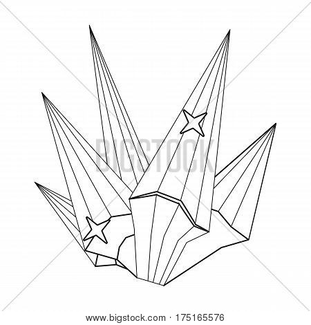 Red natural mineral icon in outline design isolated on white background. Precious minerals and jeweler symbol stock vector illustration.