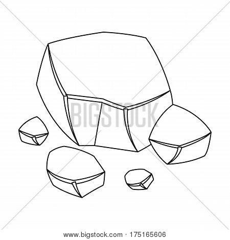 Copper ore icon in outline design isolated on white background. Precious minerals and jeweler symbol stock vector illustration.
