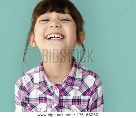 Young asian girl cheerful head and shoulder smiling portrait