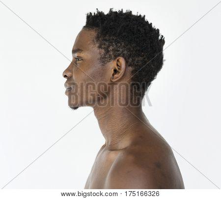 African man bare chest studio portrait poster