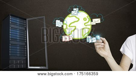 Digital composition of hand with networking icons and server against black background