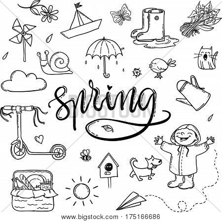 Hand Drawn Lettering Spring Funny Graphic Set. Umbrella, Paper Boat, Boots, Little Boy With Dog, Cat
