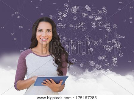 Digital composition of woman holding digital tablet with networking icons and cloud in background