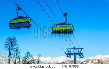 The cable car up to Rosa Khutor resort, Sochi, Russia.