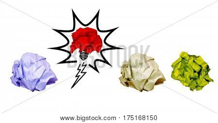 Digital composition of crumpled paper on light bulb shape against white background