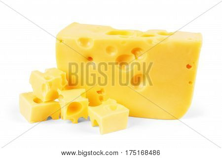 Piece of cheese isolated on white Hole, Emmental, Foods, Holes, Nourish, Wedge, Emmentaler, Schweizer, Emmenthal