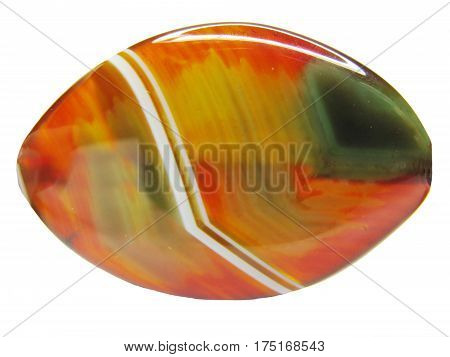 red green and yellow agate crystal isolated