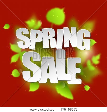 Spring sale placard template for card, placard, flyer, banner, brochure. Green blurred leafs on red background.