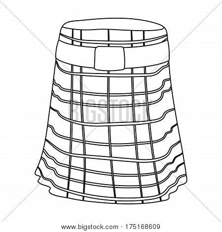 Kilt icon in outline design isolated on white background. Scotland country symbol stock vector illustration.