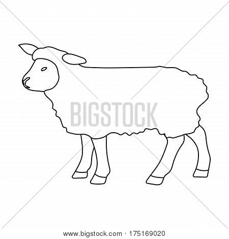 Sheep icon in outline design isolated on white background. Scotland country symbol stock vector illustration.
