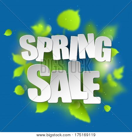 Spring sale placard template for card, placard, flyer, banner, brochure. Green blurred leafs on blue background.