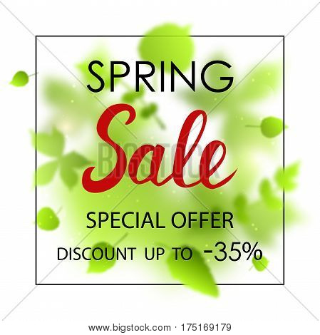 Spring sale placard template for card, placard, flyer, banner, brochure. Green blurred leafs on white background.