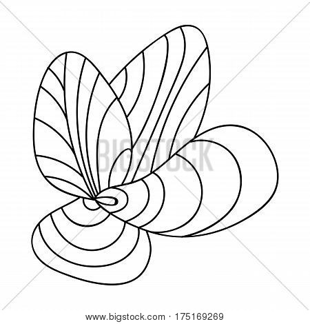 Mussels icon in outline design isolated on white background. Sea animals symbol stock vector illustration.