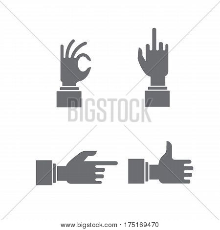 hand sign set. Gestures of the hands are four in the set