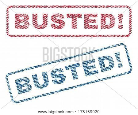 Busted exclamation text textile seal stamp watermarks. Blue red fabric vectorized texture. Vector tag inside rounded rectangular banner. Rubber emblem with fiber textile structure.