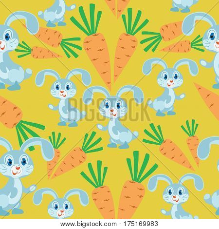 Bunny and carrots. Yellow background. Seamless pattern. Children's cartoon character. Design for textiles, wall hangings, wrapping paper.