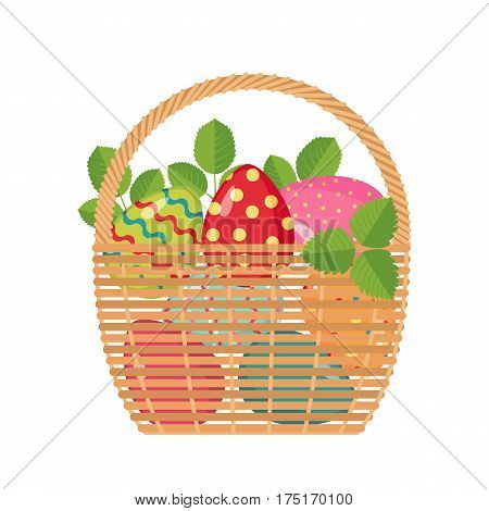 Easter icon with basket full of colored eggs in flat style isolated on white background. Design element for Easter cards. Vector illustration.