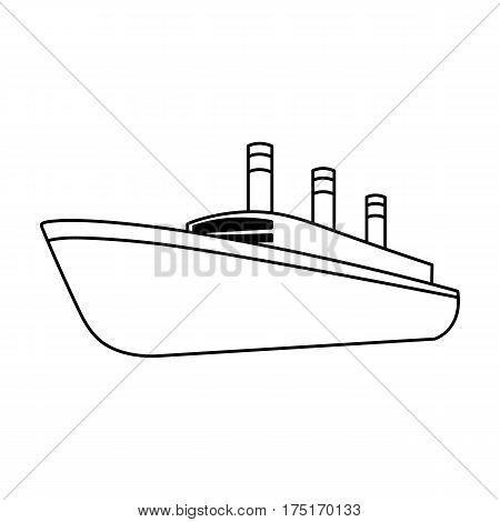 Huge cargo black liner.Ship for transportation of heavy thunderstorms on the sea and the ocean .Ship and water transport single icon in outline style vector symbol stock web illustration.