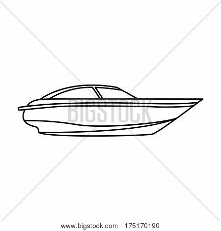 A small white boat with a motor.Boat for speed and competition.Ship and water transport single icon in outline style vector symbol stock web illustration.
