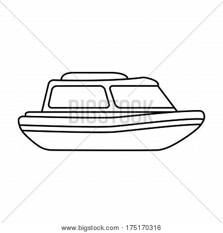 Orange rescue boat.Boat to rescue the drowning persons.Ship and water transport single icon in outline style vector symbol stock web illustration.
