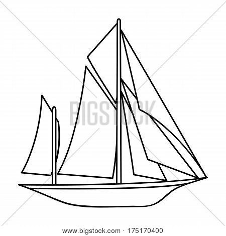 Vintage boat explorers.Sailboat on which ancient people traveled around the Earth.Ship and water transport single icon in outline style vector symbol stock web illustration.