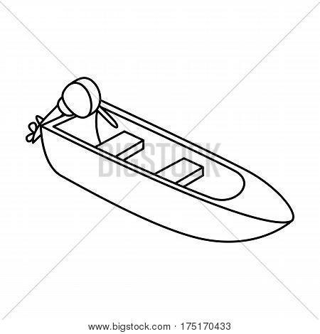 Small metal boat with motor for fishing.Boat for river or lake fishing.Ship and water transport single icon in outline style vector symbol stock web illustration.