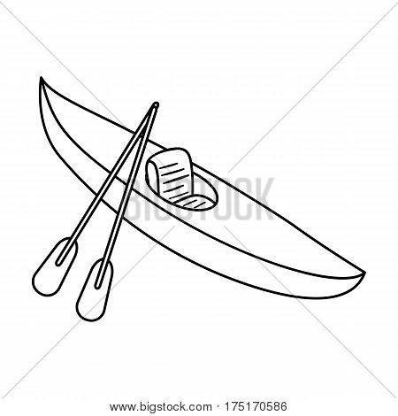 Green kayak for downhill on a mountain river.Sports water transport.Ship and water transport single icon in outline style vector symbol stock web illustration.