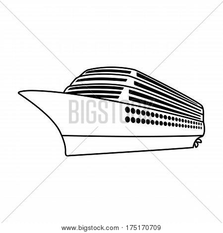 A huge cruise liner.Vehicle for travelling over long distances to a huge number of people.Ship and water transport single icon in outline style vector symbol stock web illustration.