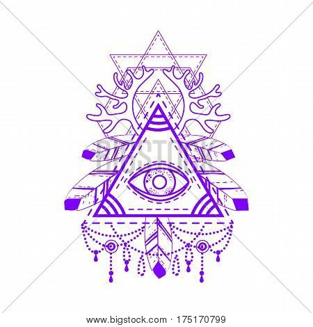 All-seeing eye pyramid symbol. Old school tattoo. Mystic sign of alchemy, of Providence, the occult, magic, Freemasonry and the Illuminati. Conspiracy theory. Vector illustration.