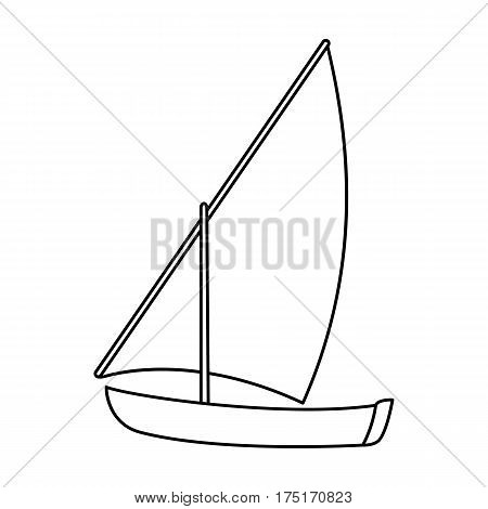 Little river sailing for fun.The boat which sails through the wind.Ship and water transport single icon in outline style vector symbol stock web illustration.