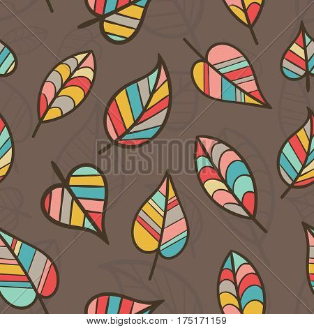 Creative Seamless Pattern with Fall Leaves. Continuous Floral Colored Pattern for Cloth Fabric Textile Tissue.