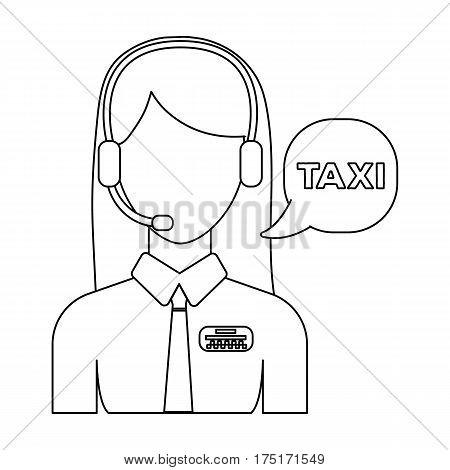 Girl in a white shirt with headphones.Call centre manager takes a taxi booking. Taxi station single icon in outline style vector symbol stock web illustration.