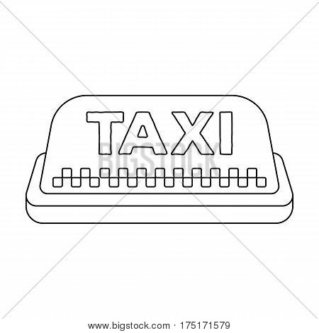 Yellow checker taxi with logo.Equipment taxi station for identification car. Taxi station single icon in outline style vector symbol stock web illustration.