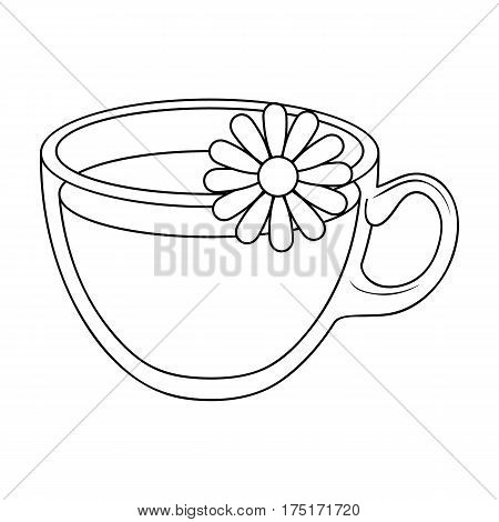 Glass mug with tea useful.Vegetarian therapeutic chamomile tea.Vegetarian Dishes single icon in outline style vector symbol stock web illustration.