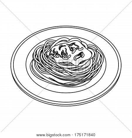 The dish in which wheat spaghetti with red sauce.Main dish vegetarian.Vegetarian Dishes single icon in outline style vector symbol stock web illustration.