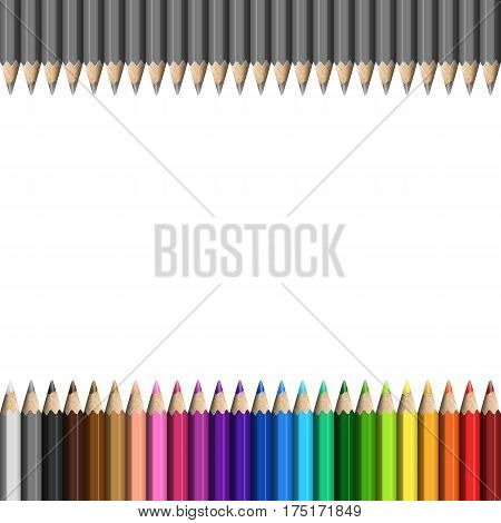 Rainbow and Grey Template of Realistic Colorful Pencils for / Page / Presentation / Website. Row of Colored Pencils Continued Right and Left.