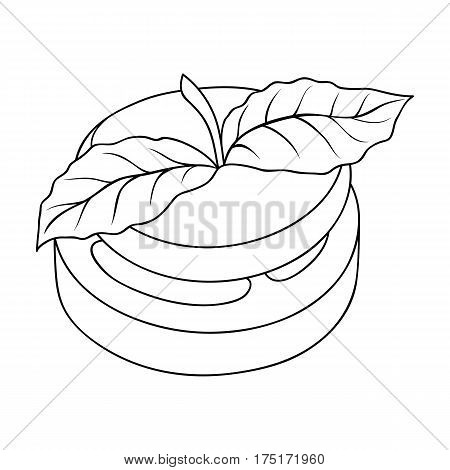 Sandwich vegetarian cuisine.Hamburger tomato and cheese with a leaf of mint.Vegetarian Dishes single icon in outline style vector symbol stock web illustration.